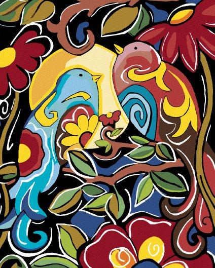 Malování podle čísel - KVĚTINOVÁ MALBA S PTÁČKY