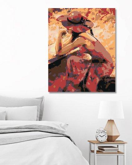 Malování podle čísel - KRÁSNÁ ZASNĚNÁ ŽENA V ČERVENÉM