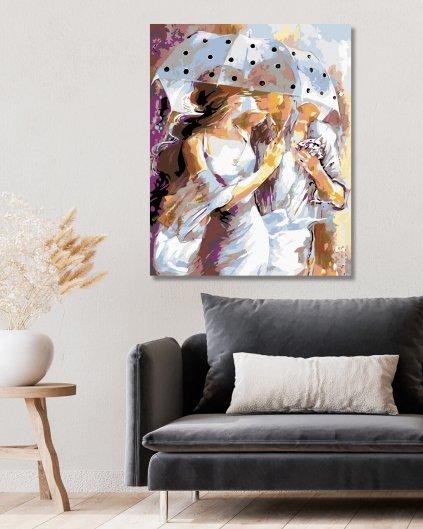 Malování podle čísel - MILENCI POD DEŠTNÍKEM