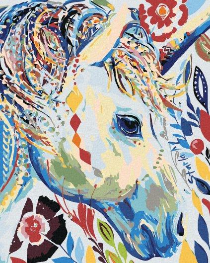 Malování podle čísel - KVĚTINOVÁ BÍLÁ KOBYLA