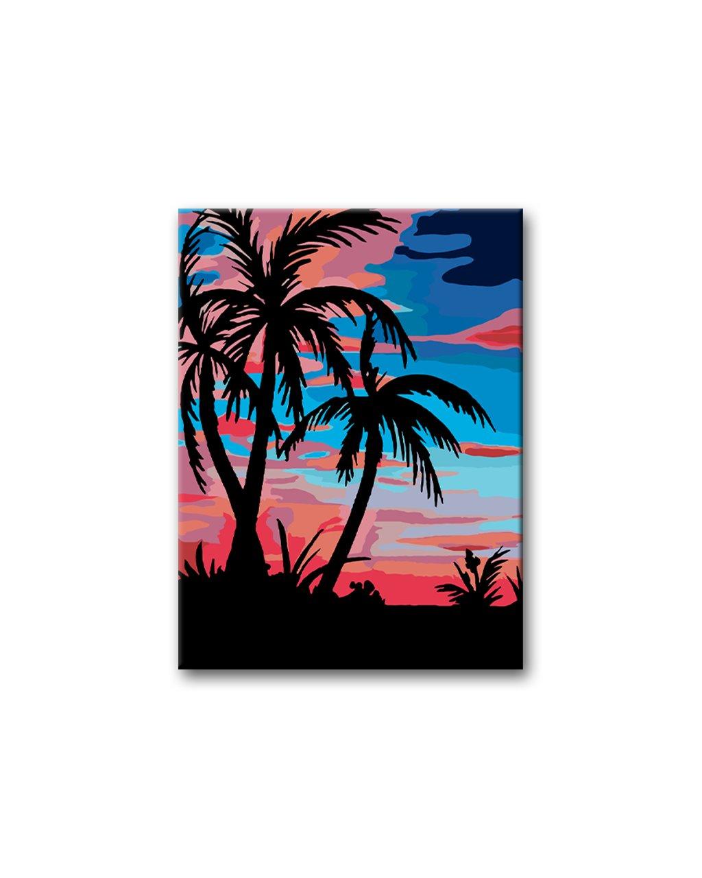 Malowanie po numerach - Palmy w zachodzie słońca