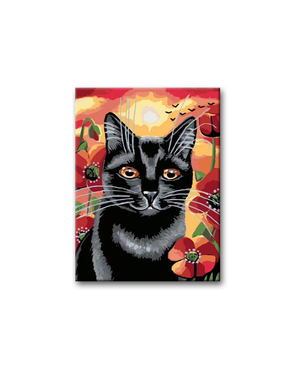 Malowanie po numerach - Czarny kot i zachód słońca