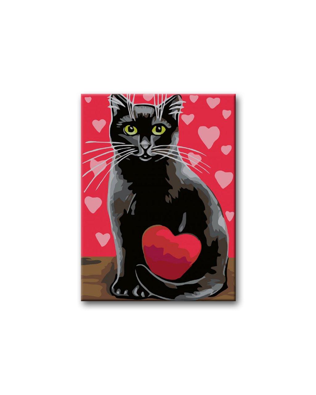 Malowanie po numerach - Czarny kot z czerwonym sercem