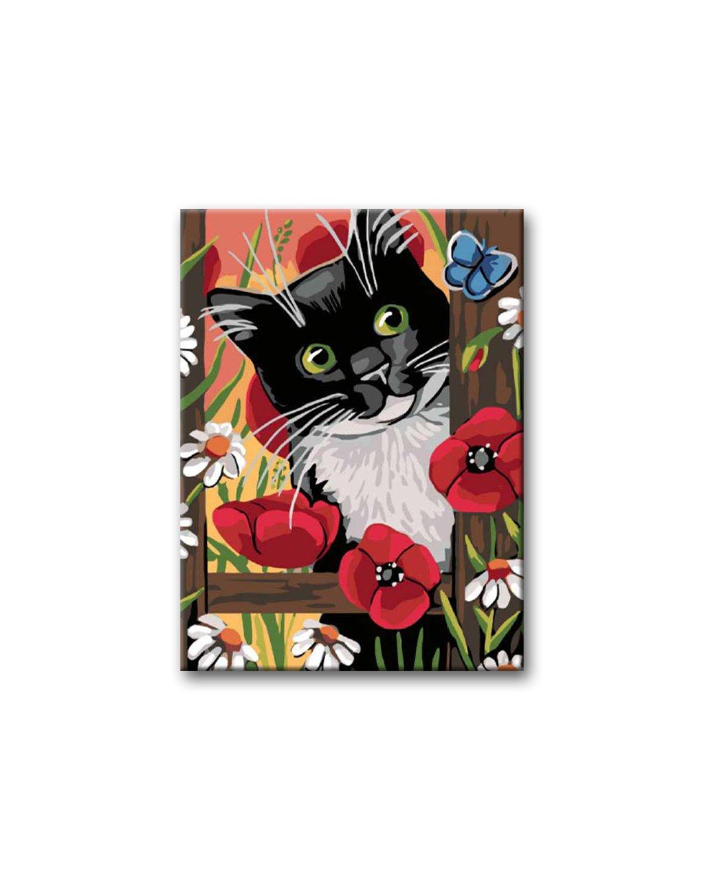 Malarskich numerów – Czarno-biały kotek i maki