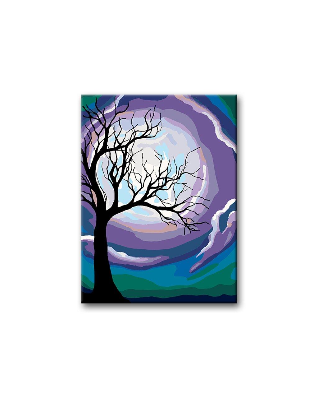 Malowanie po numerach - Drzewo i fioletowy księżyc