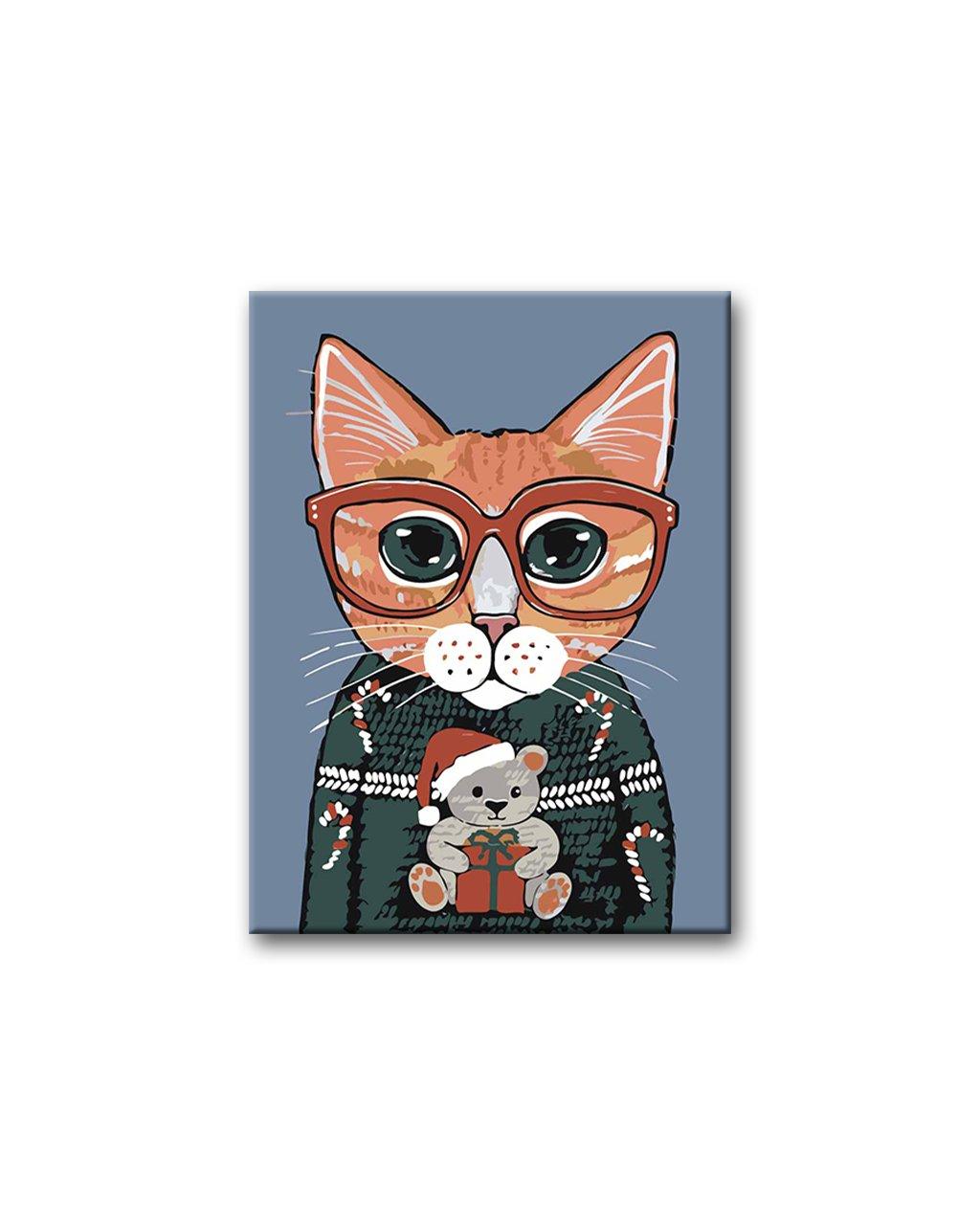 Malowanie po numerach – Kot w swetrze, Boże Narodzenie