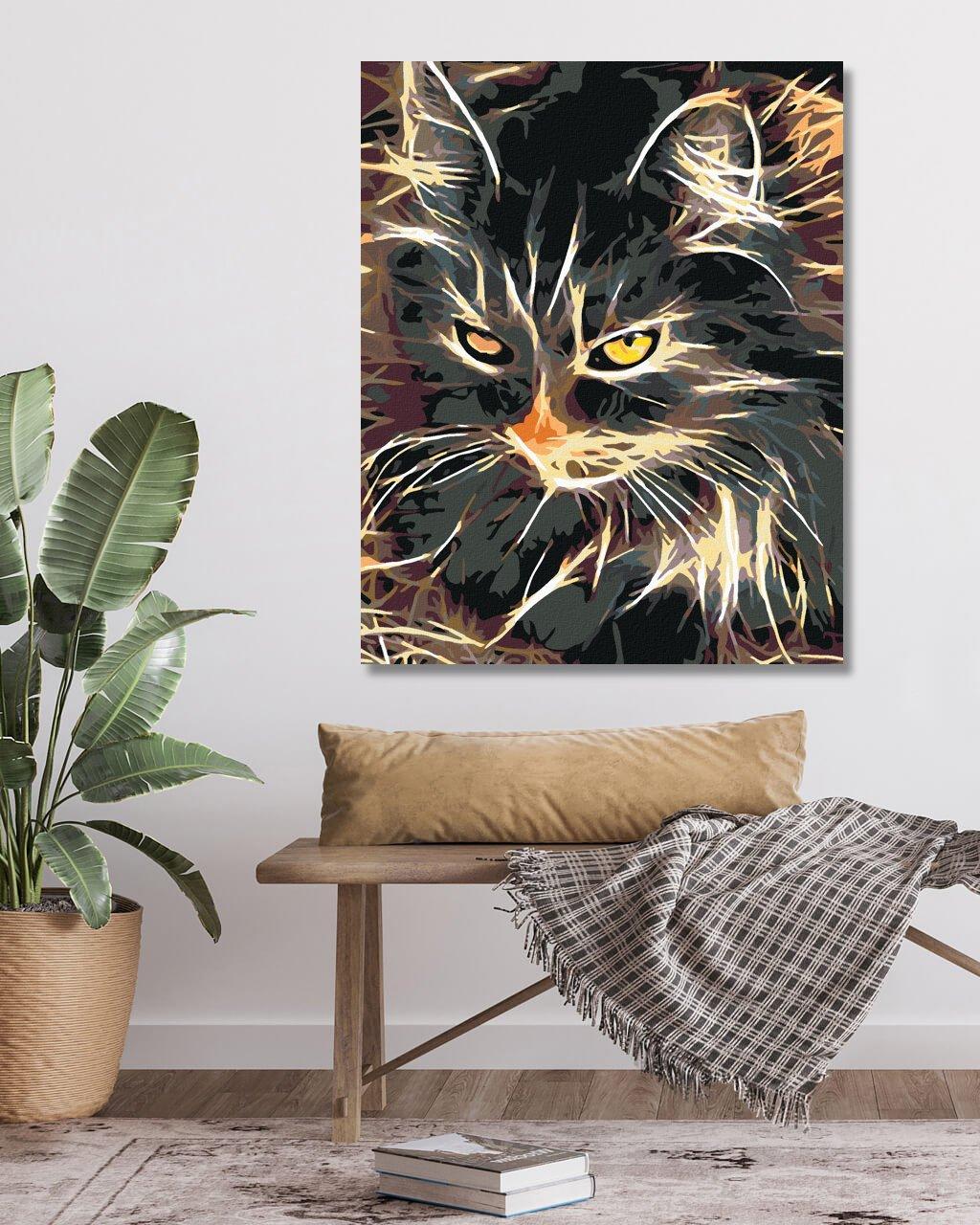 Malowanie po numerach – Kot na sianie