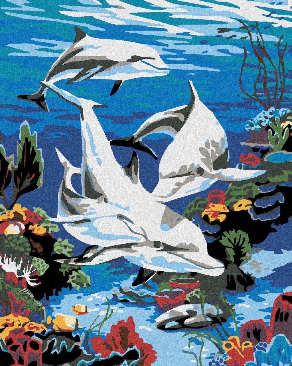Malowanie po numerach - Delfiny w morzu
