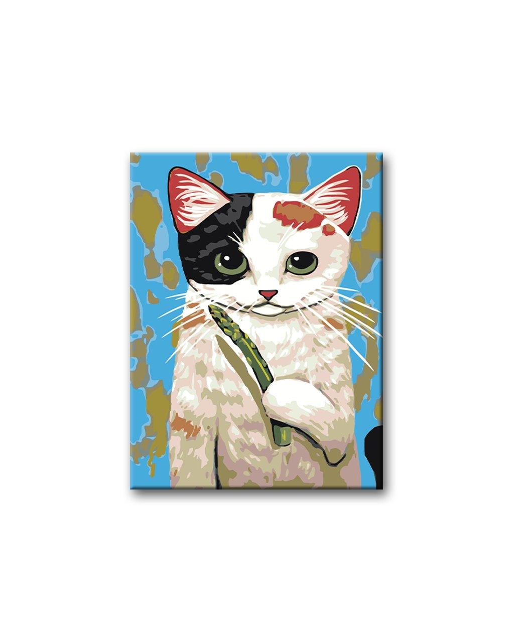 Malowanie po numerach – Łaciaty kotek ze szparagą