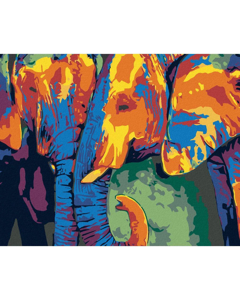 Malowanie po numerach – Para kolorowych słoni