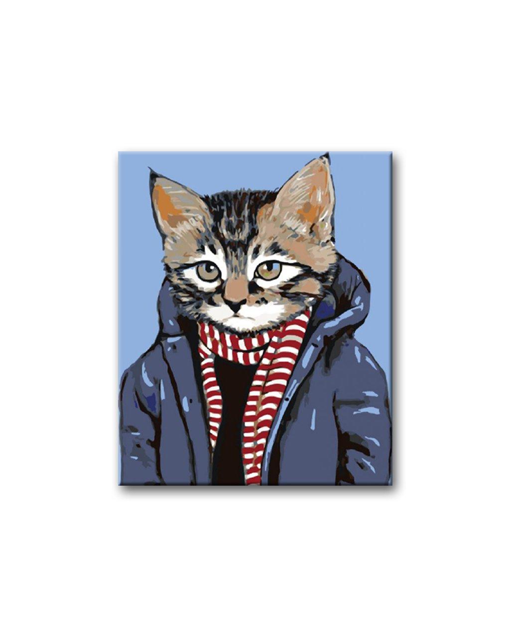 Malowanie po numerach – Kot z szalikiem