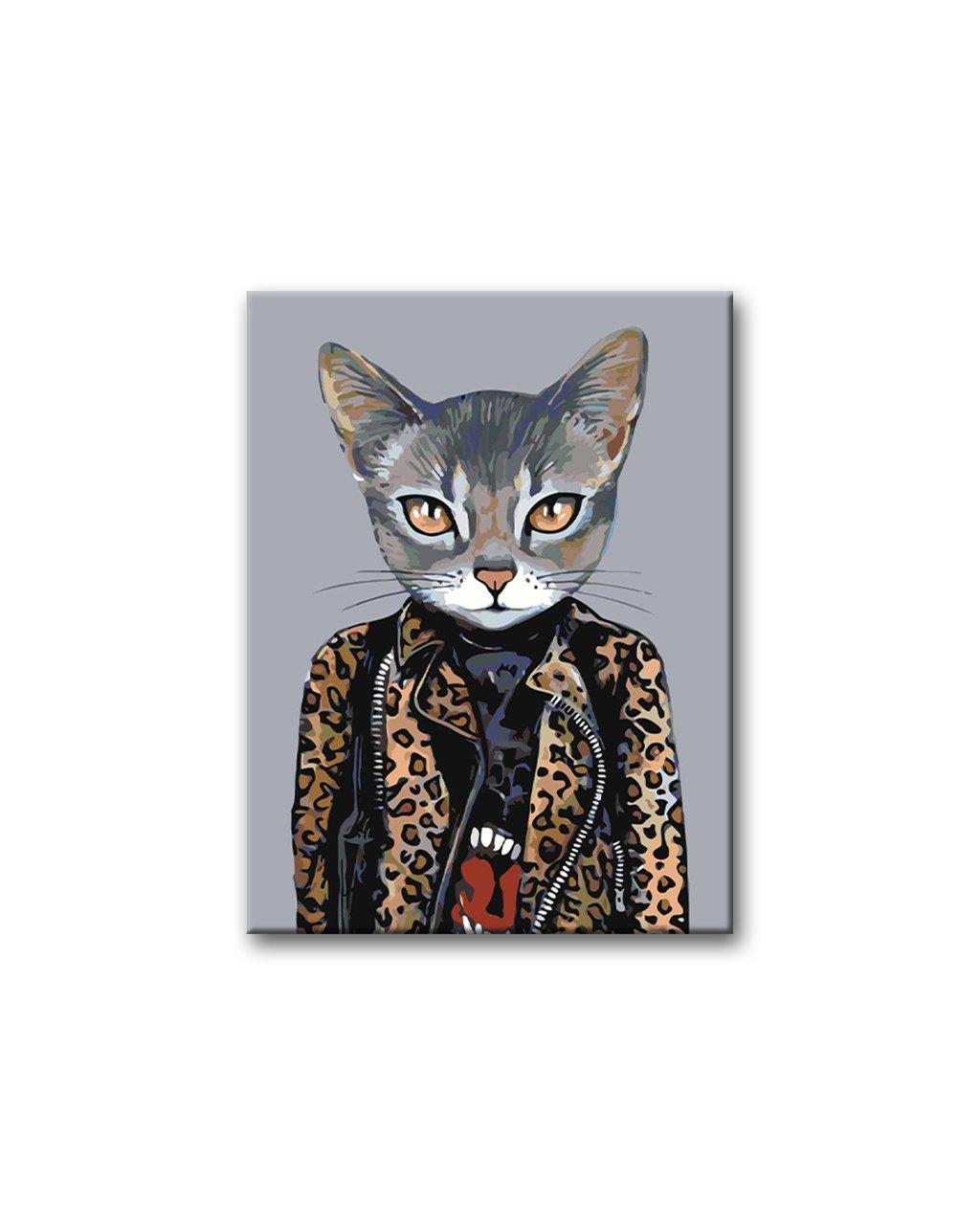 Malowanie po numerach - Kot w ramonesce z lamparcim wzorem
