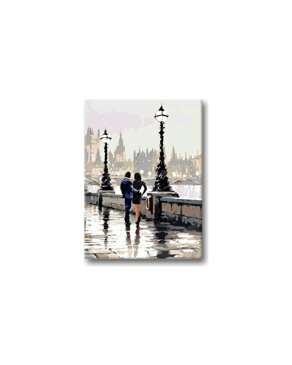 Malowanie po numerach – Wieczorny spacer nad rzeką przy latarniach