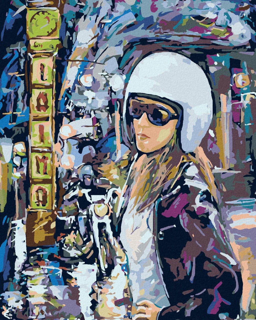 Malowanie po numerach – Motocyklistka w mieście