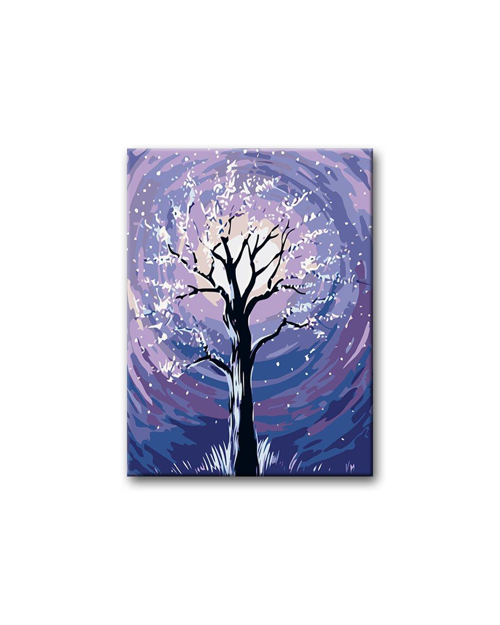 Malowanie po numerach - Drzewo w pełni księżyca i padający śnieg