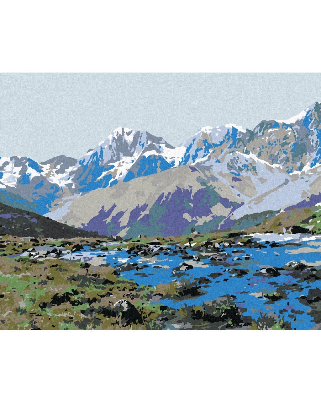 Malowanie po numerach – Górski potok na tle gór