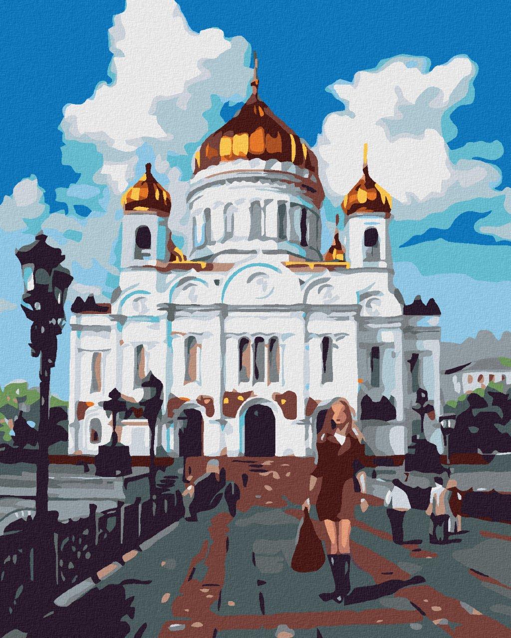 Malowanie po numerach - Kobieta przed pałacem