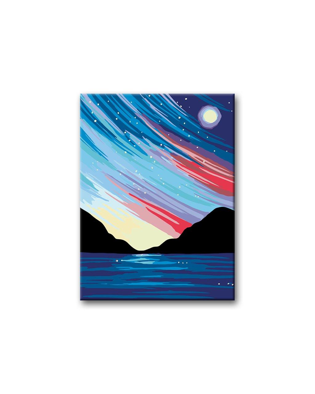 Malowanie po numerach – Zorza polarna nad morzem