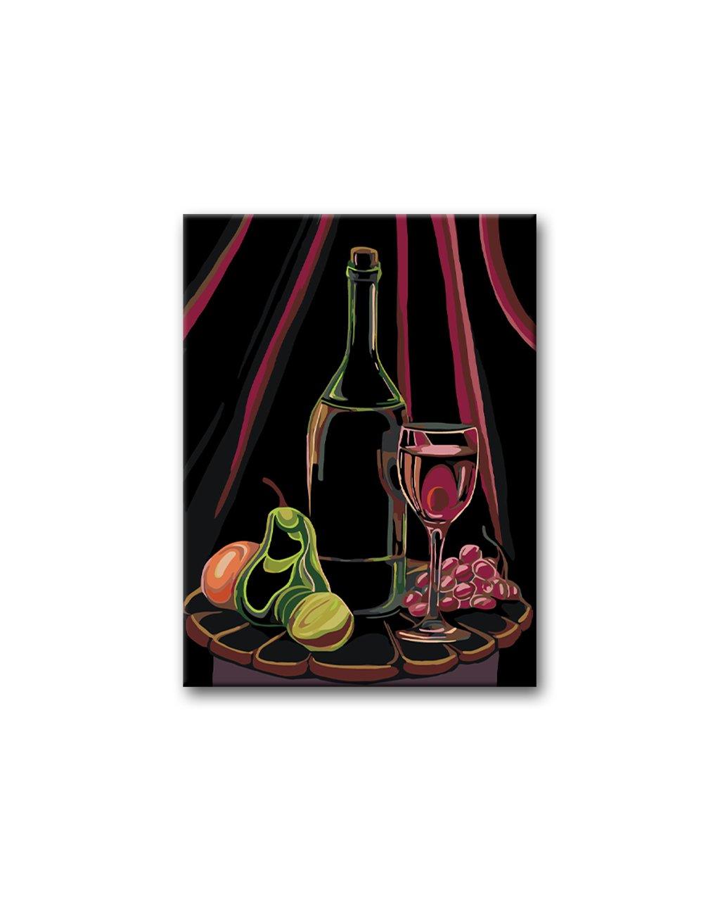 Malowanie po numerach - Martwa natura z winem i owocami