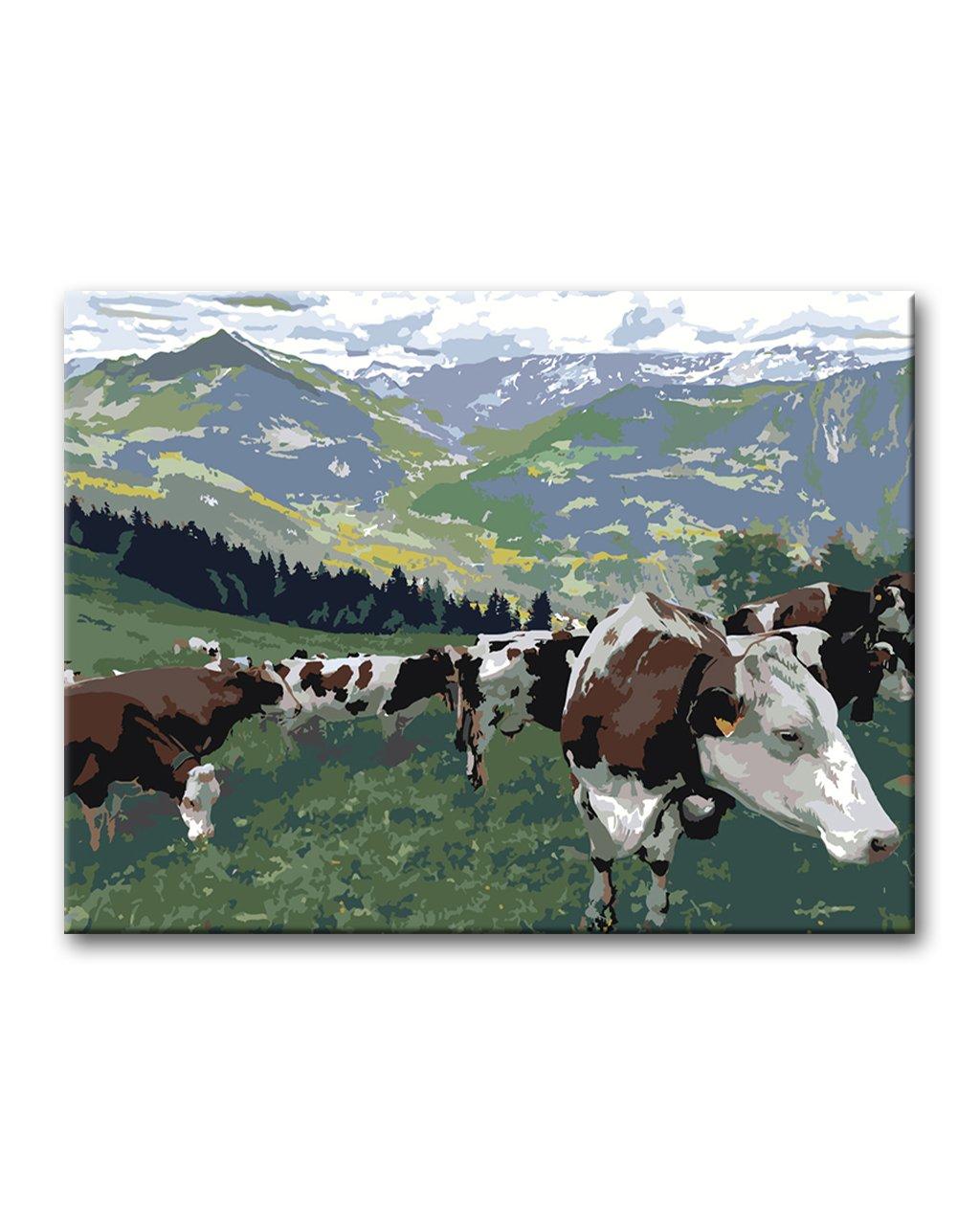 Malowanie po numerach – Alpejski pejzaż – krowy na pastwisku