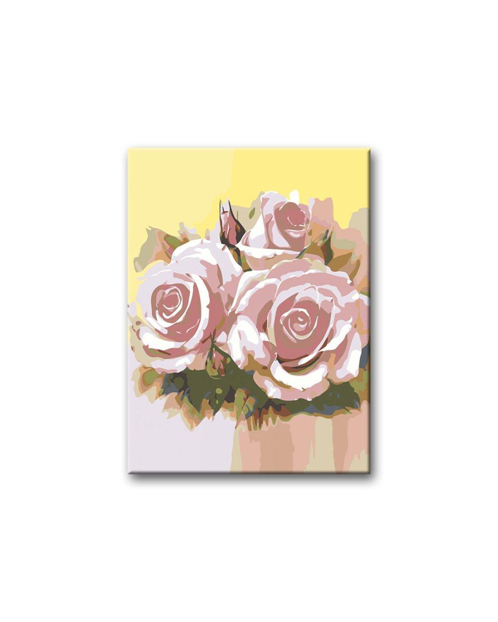 Malowanie po numerach – Różowe róże