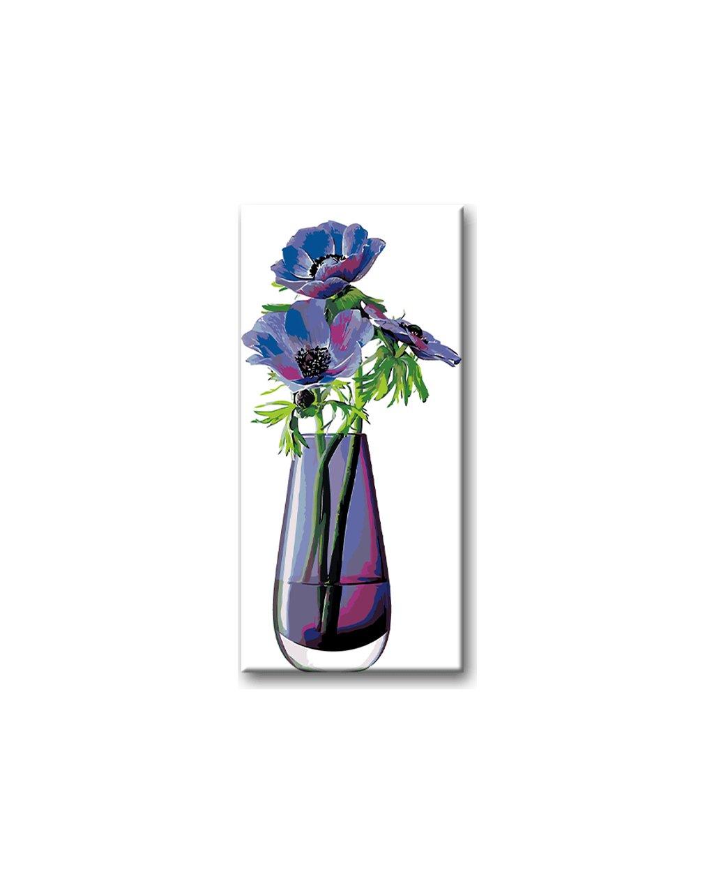 Malowanie po numerach – Niebieskie kwiaty w szklanym wazonie
