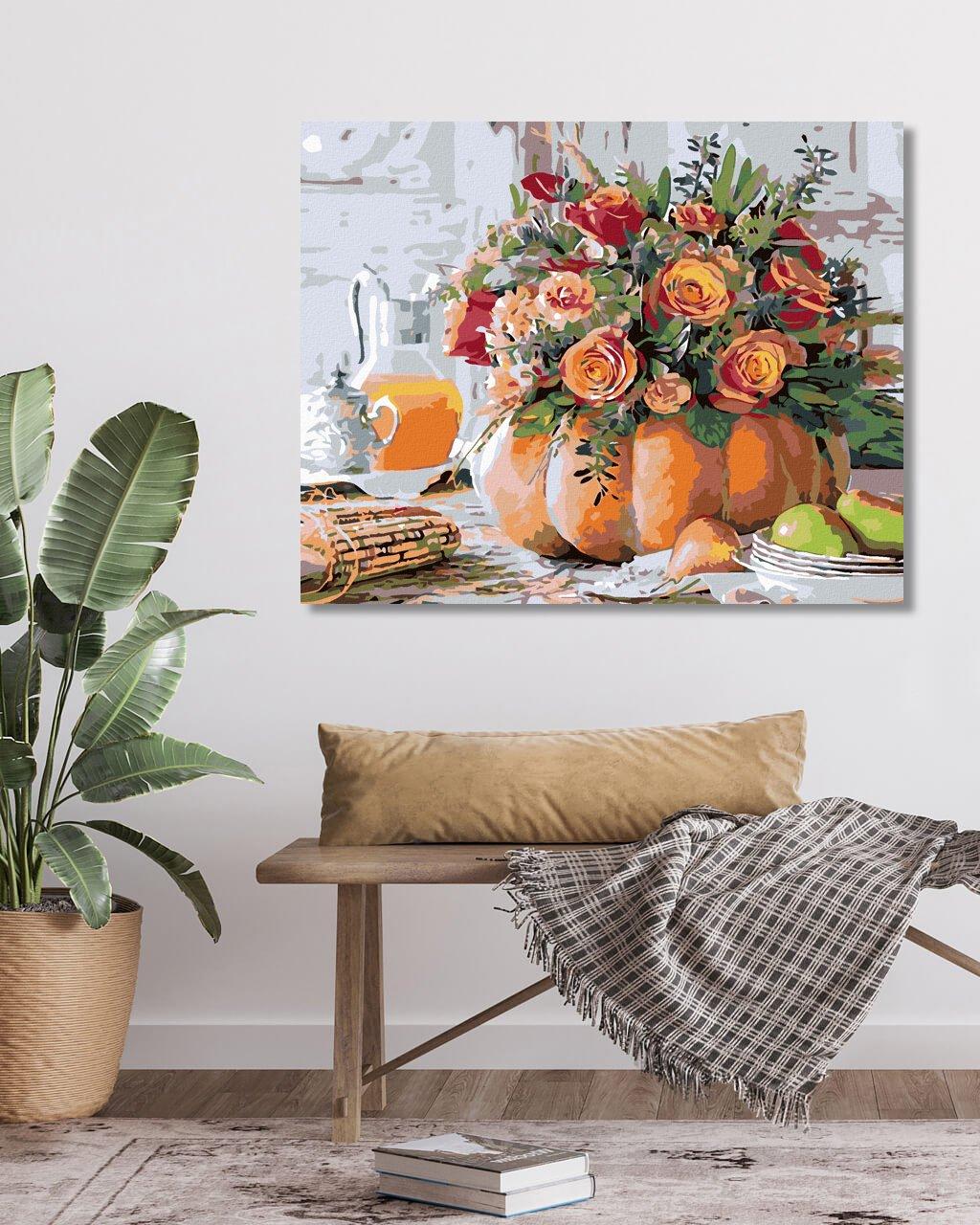 Malowanie po numerach - Bukiet róż w dyni