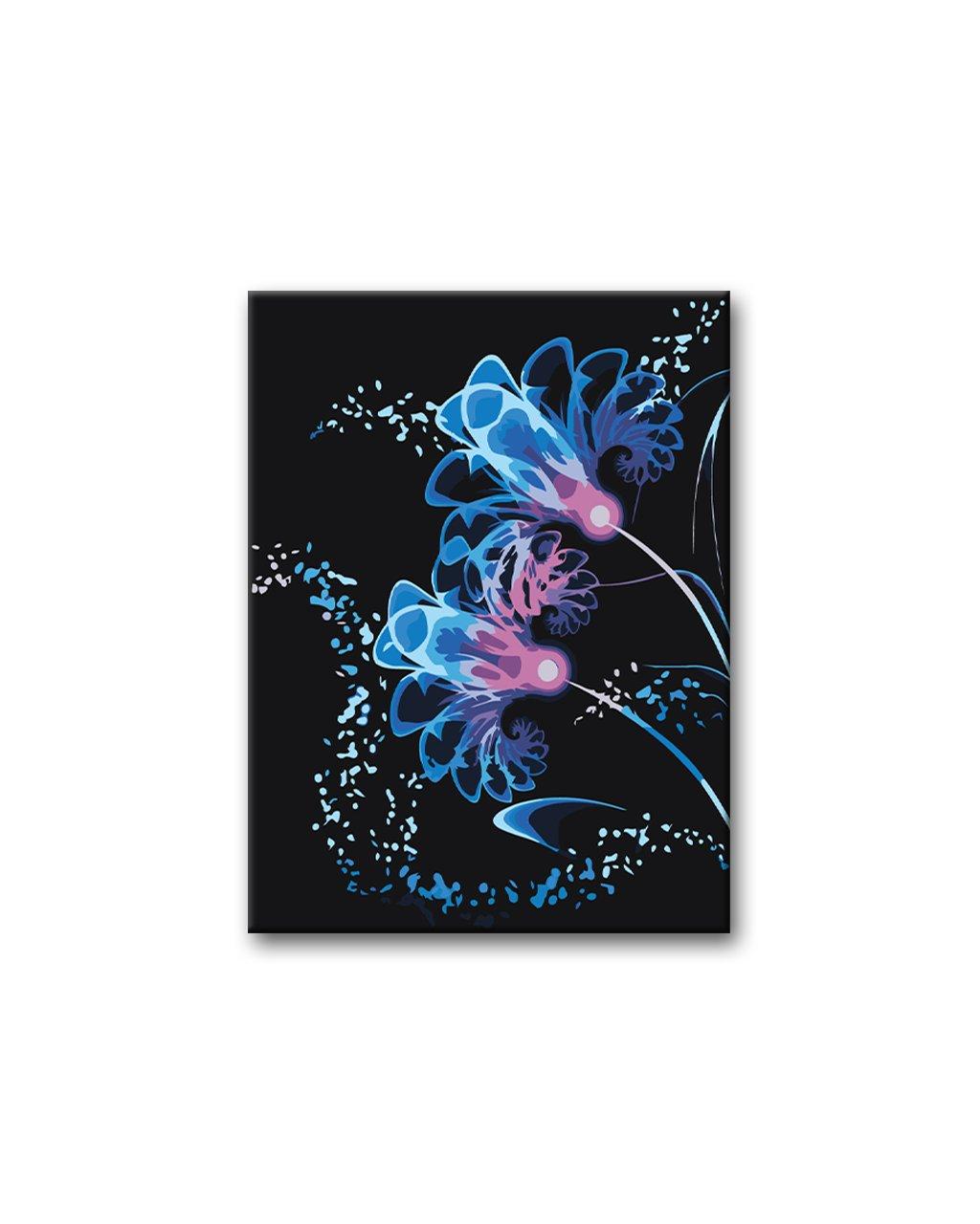 Malowanie po numerach – Neonowe kwiaty na czarnym tle