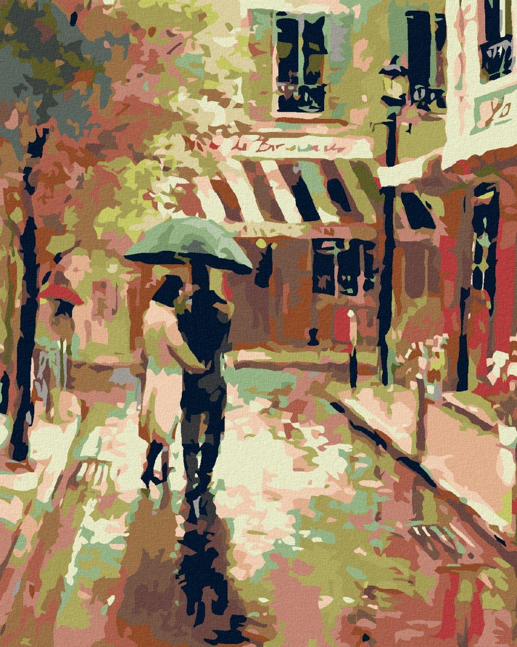 Malowanie po numerach - Spacer po Paryżu w deszczu