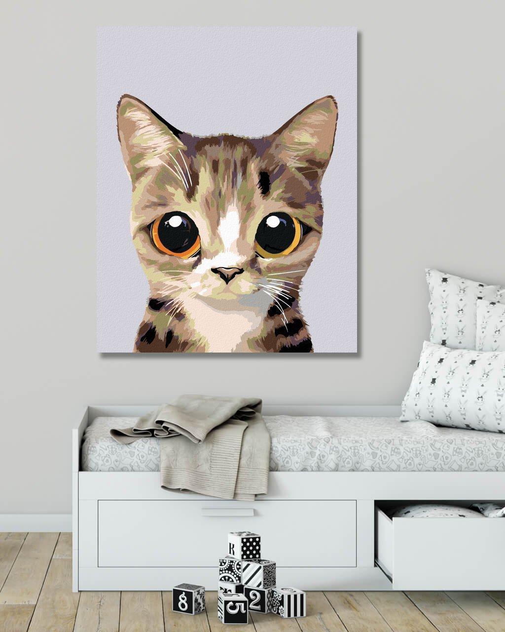 Malowanie po numerach – Słodki pręgowany kotek