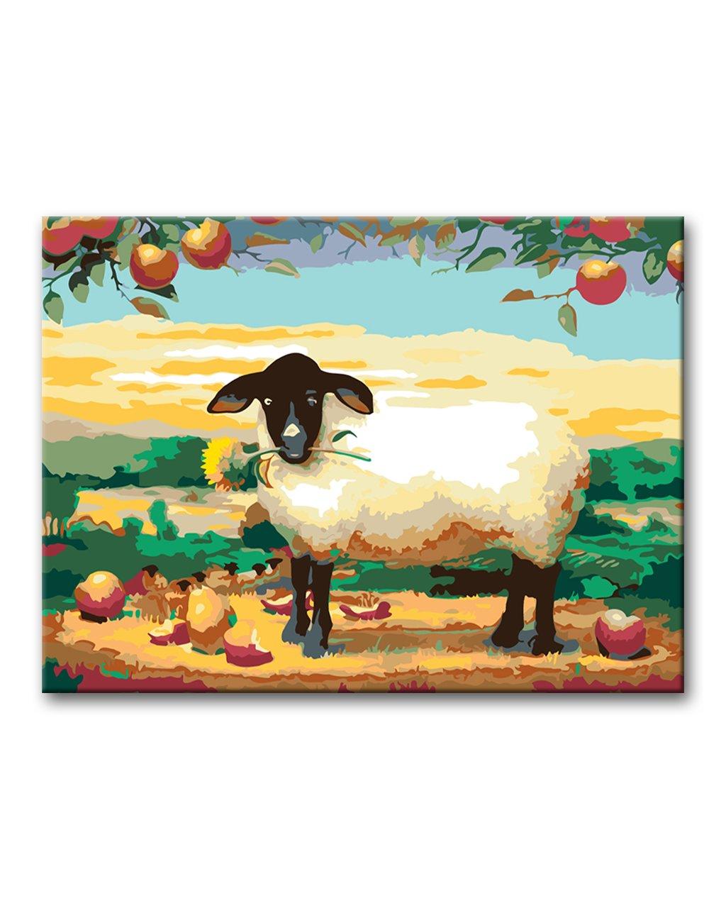 Malowanie po numerach – Owieczka ze słonecznikiem pod jabłonią