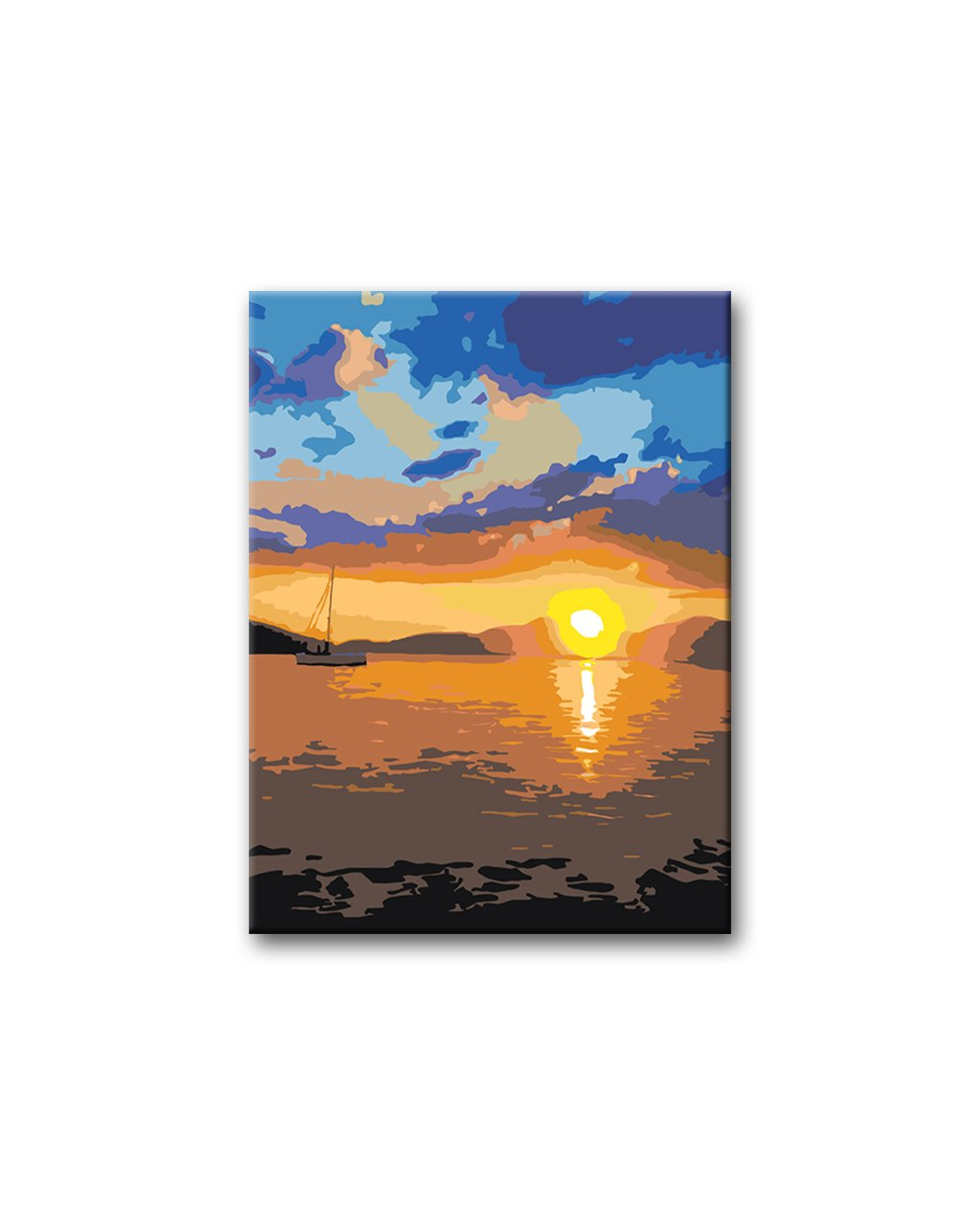 Malowanie po numerach - Zachód słońca nad jeziorem z żaglowką w tle