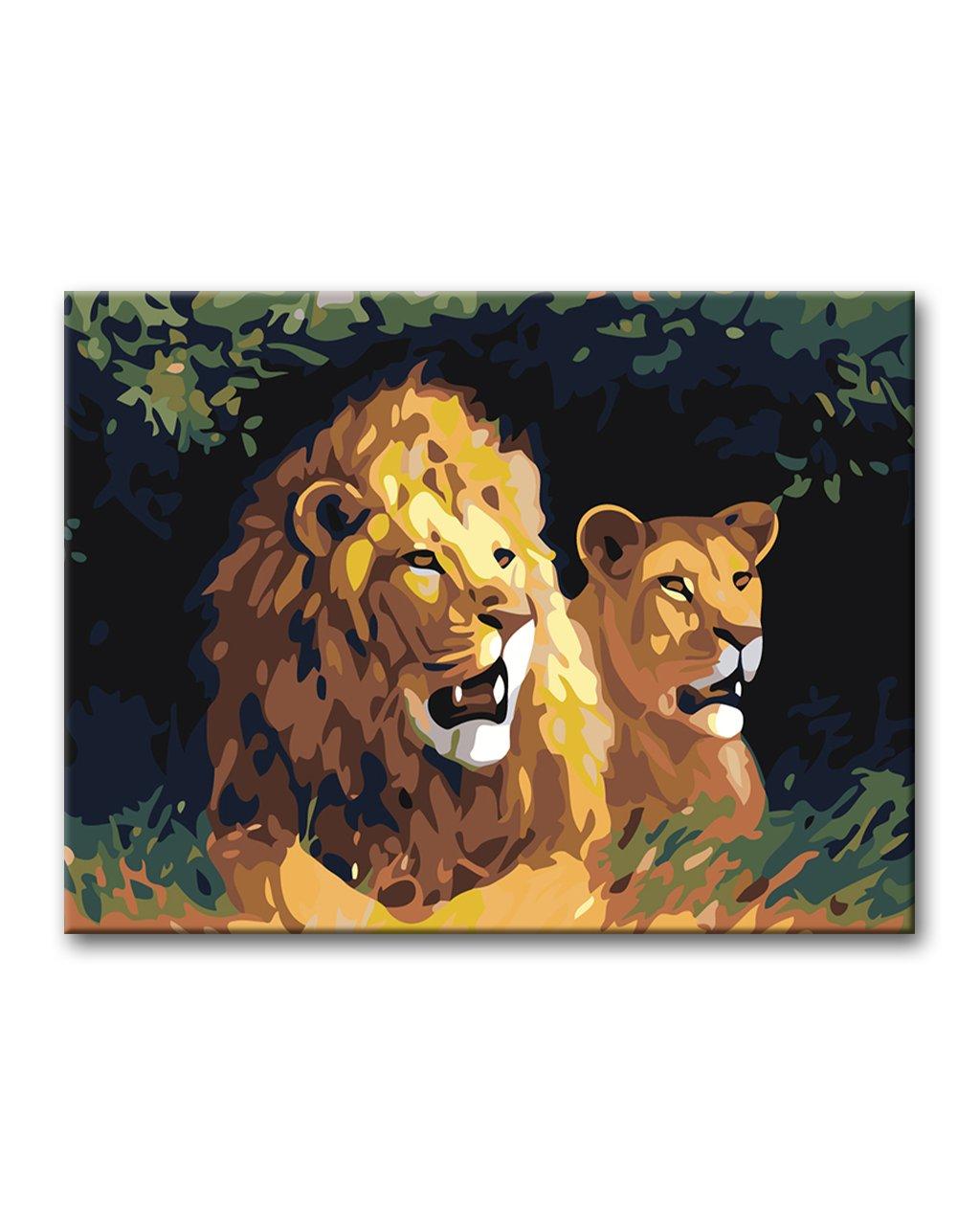 Malowanie po numerach - Lew i lwica w trawie