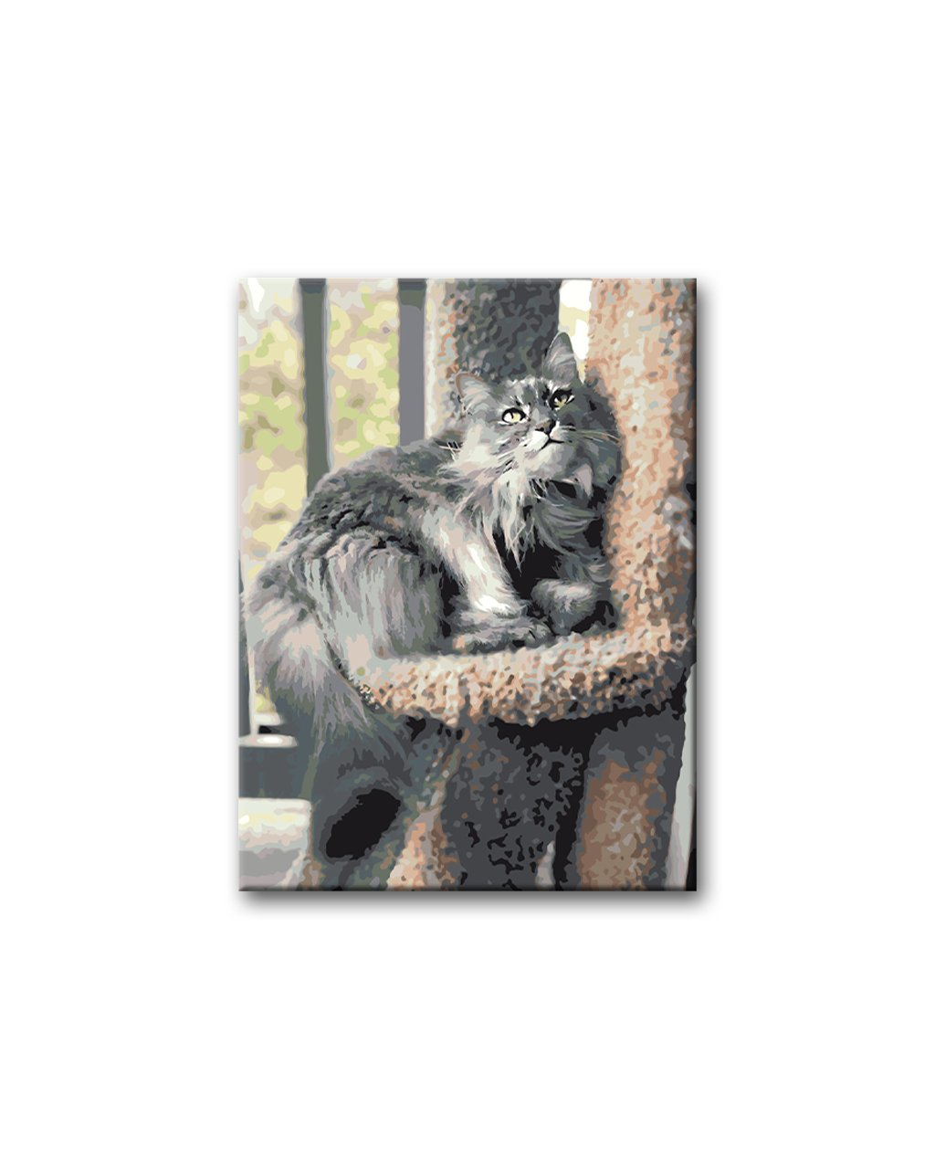 Malowanie po numerach - Szary kot perski na drzewie