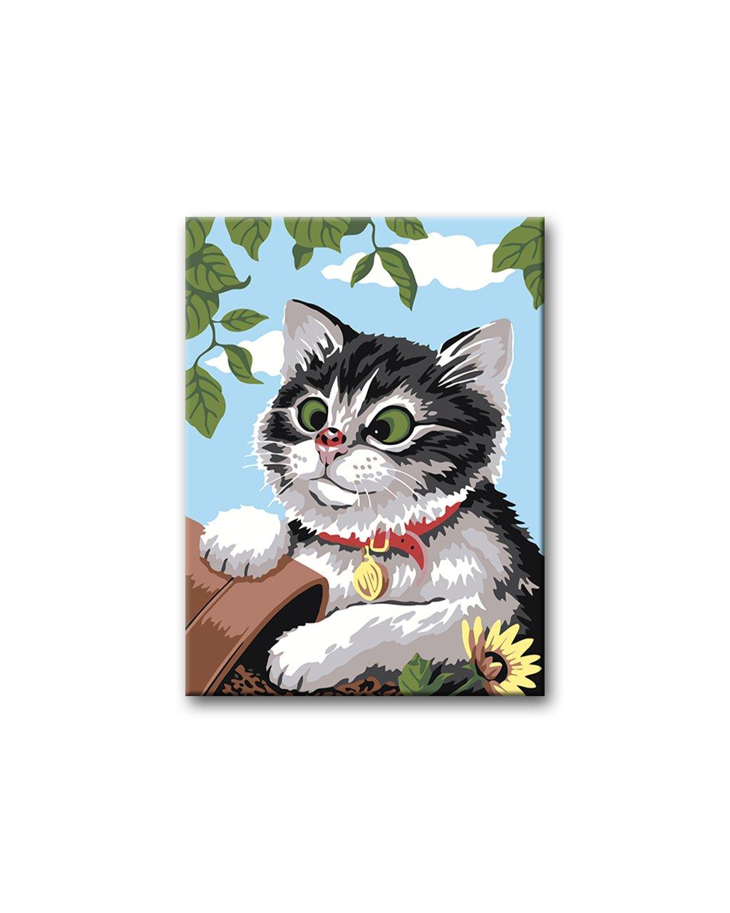 Malowanie po numerach – Kotek i przewrócone doniczki