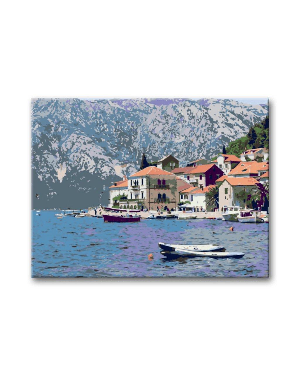 Malowanie po numerach – Górskie miasteczko nad jeziorem