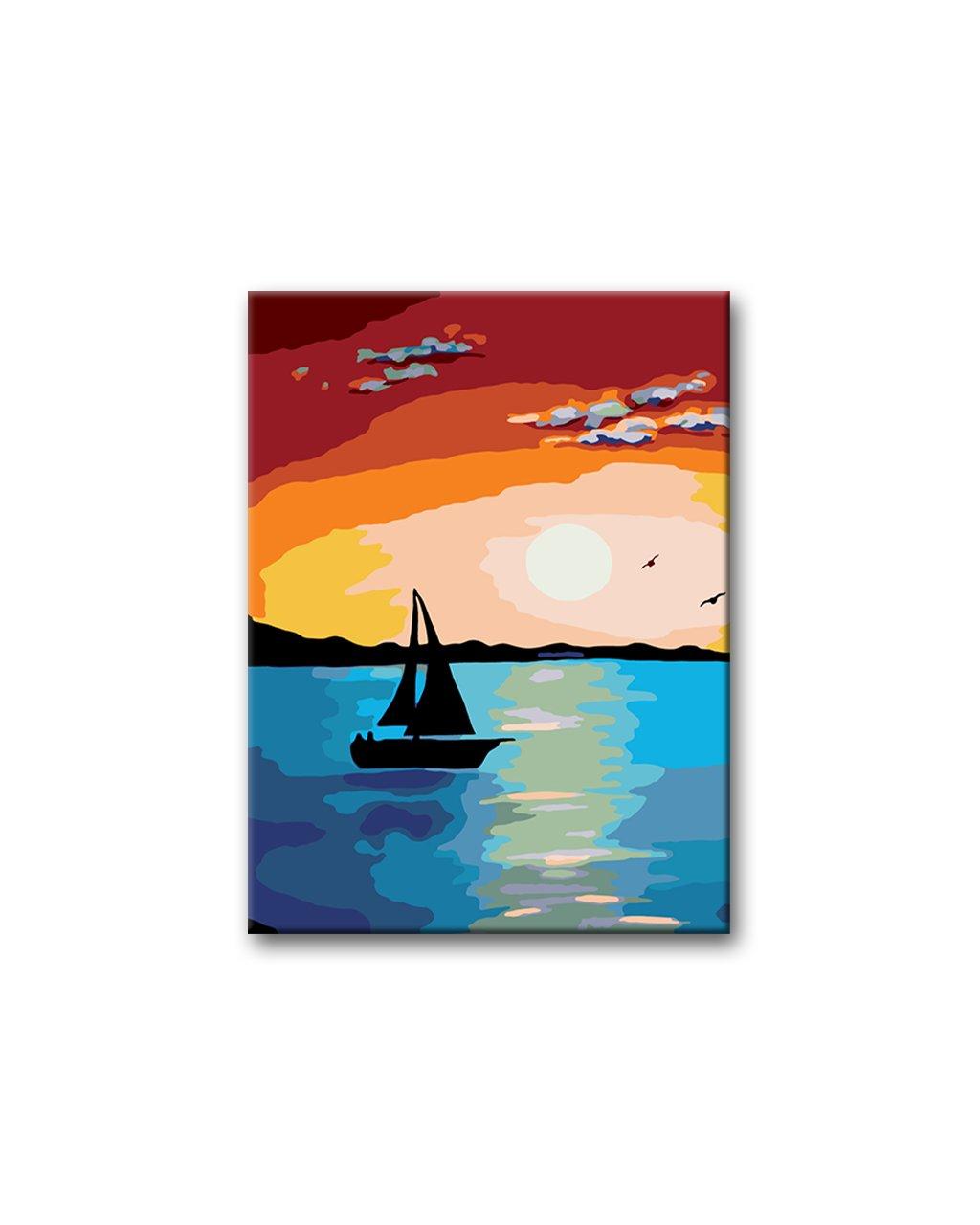 Malowanie po numerach - Zachód słońca z żaglówką