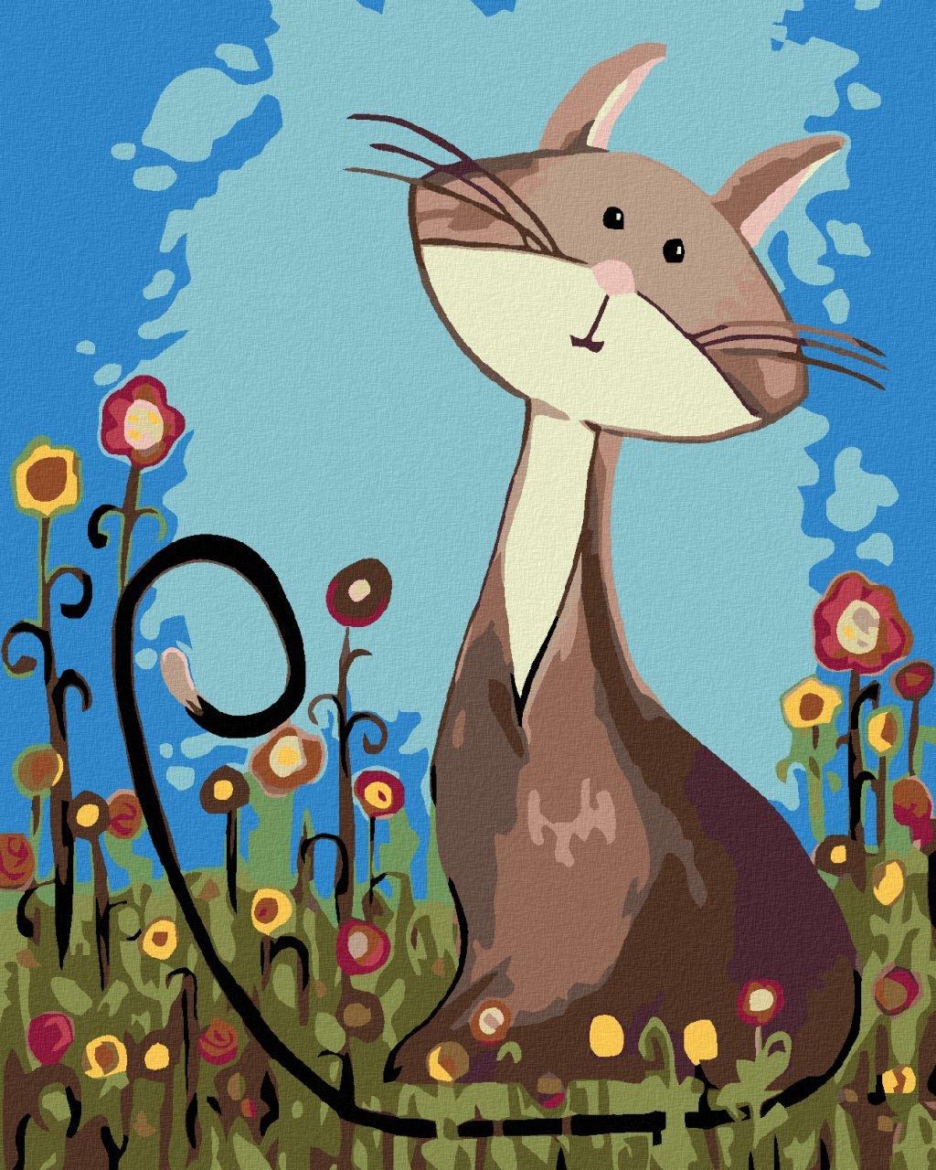 Malowanie po numerach – Kotek na łące