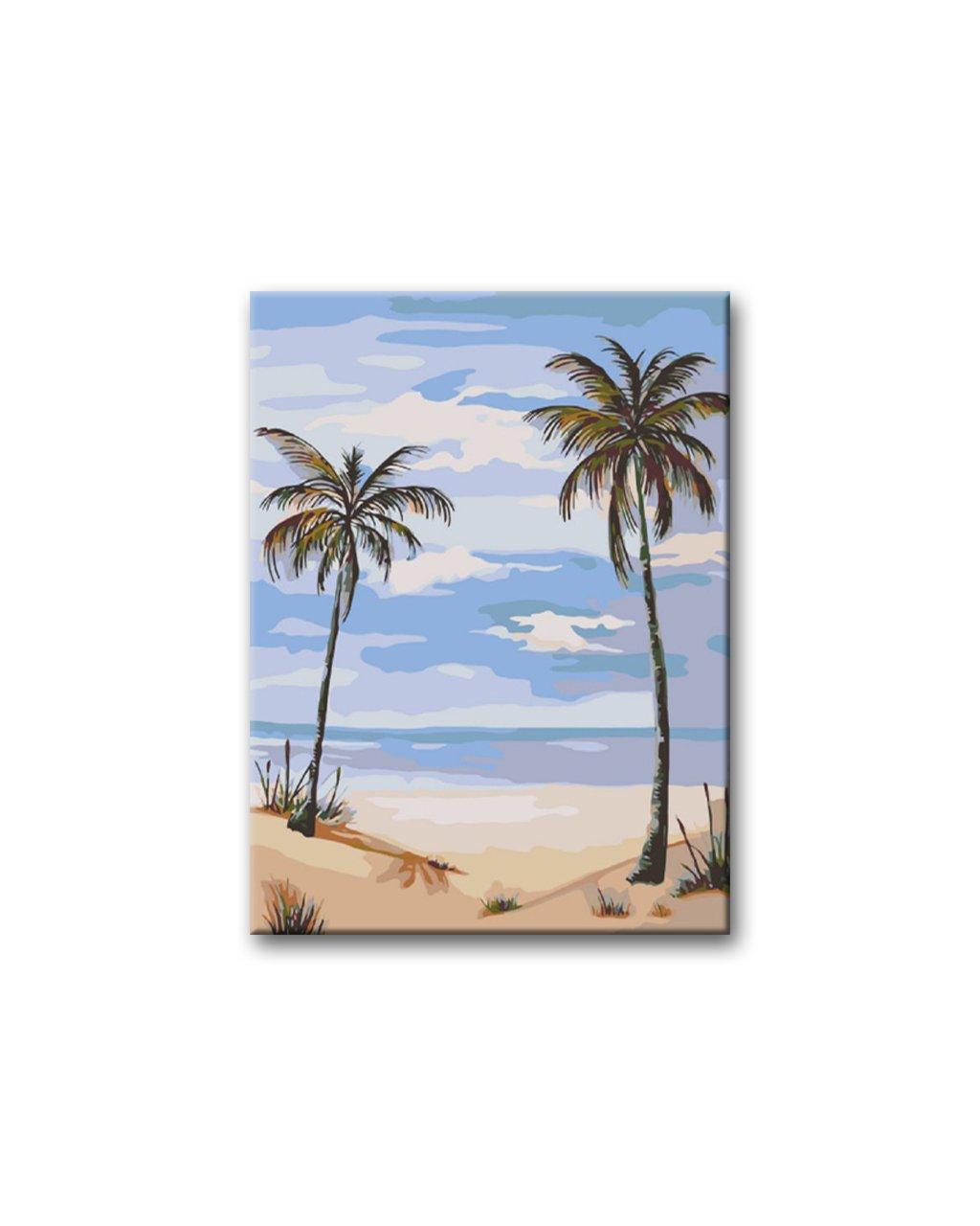 Malowanie po numerach - Dwie palmy na plaży