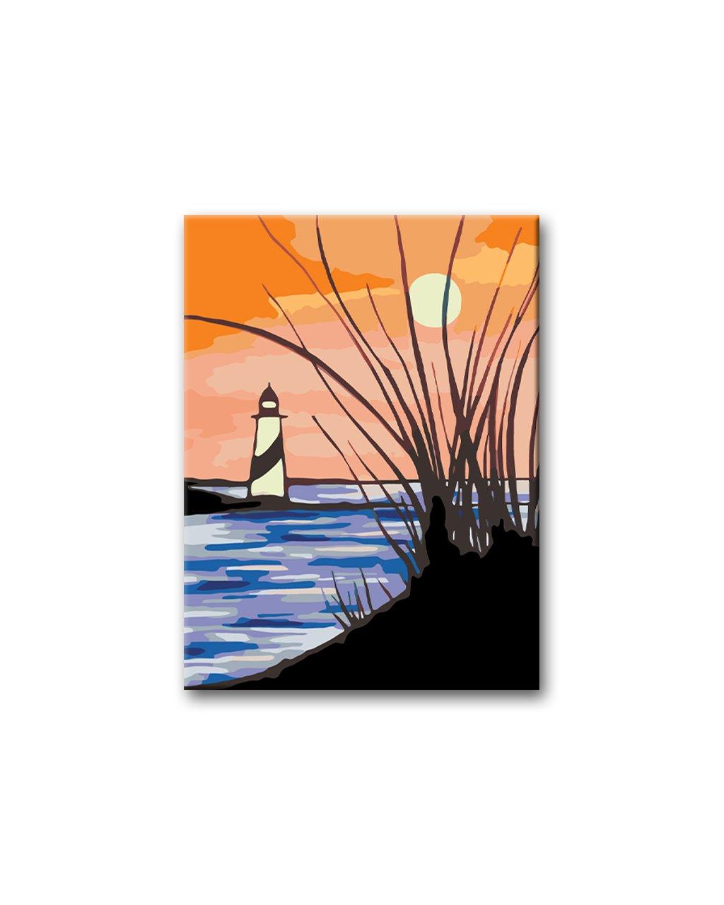 Malowanie po numerach - Latarnia morska i zachód słońca