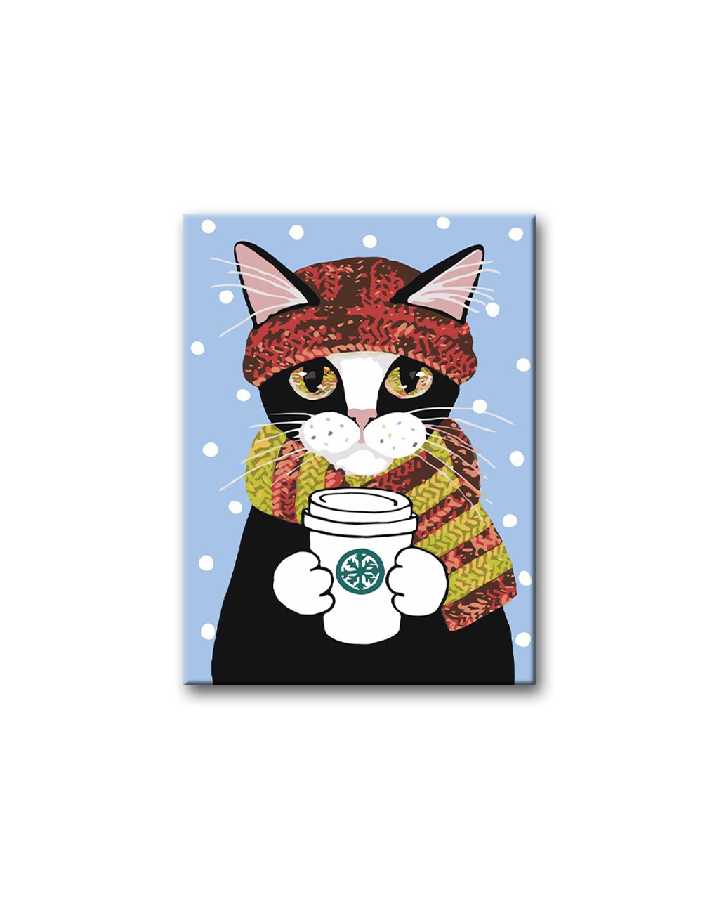 Malowanie po numerach - Kot w szaliku z kawą