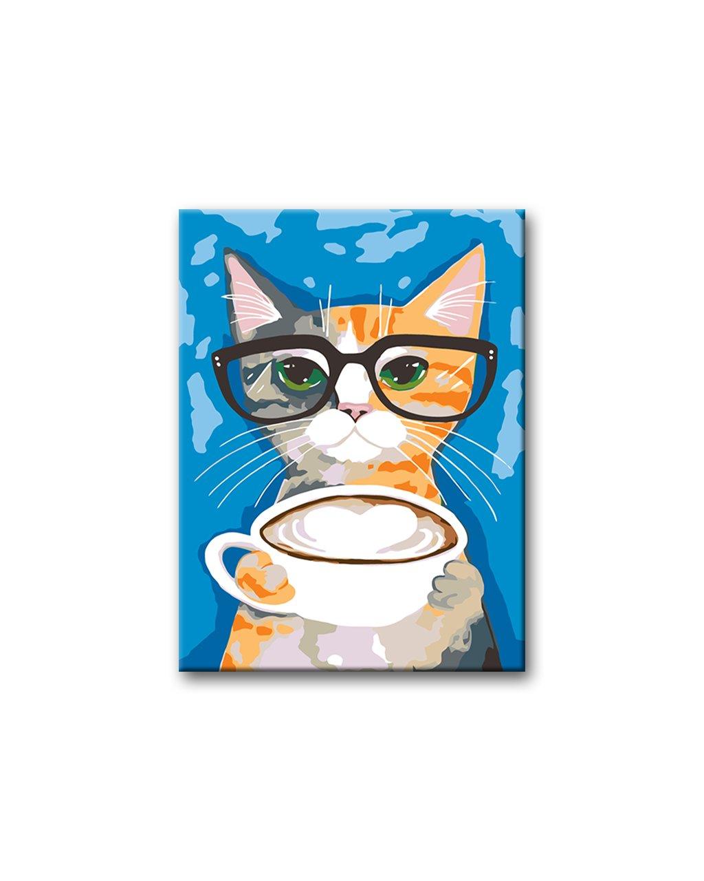 Malowanie po numerach - Kot w okularach z kubkiem cappuccino