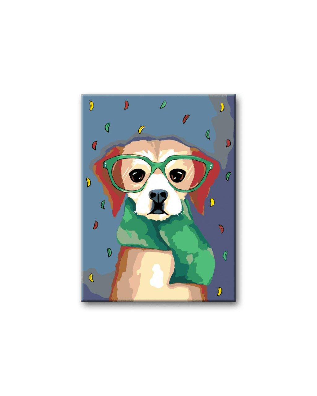 Malowanie po numerach - Pies z zielonym szalikiem w okularach
