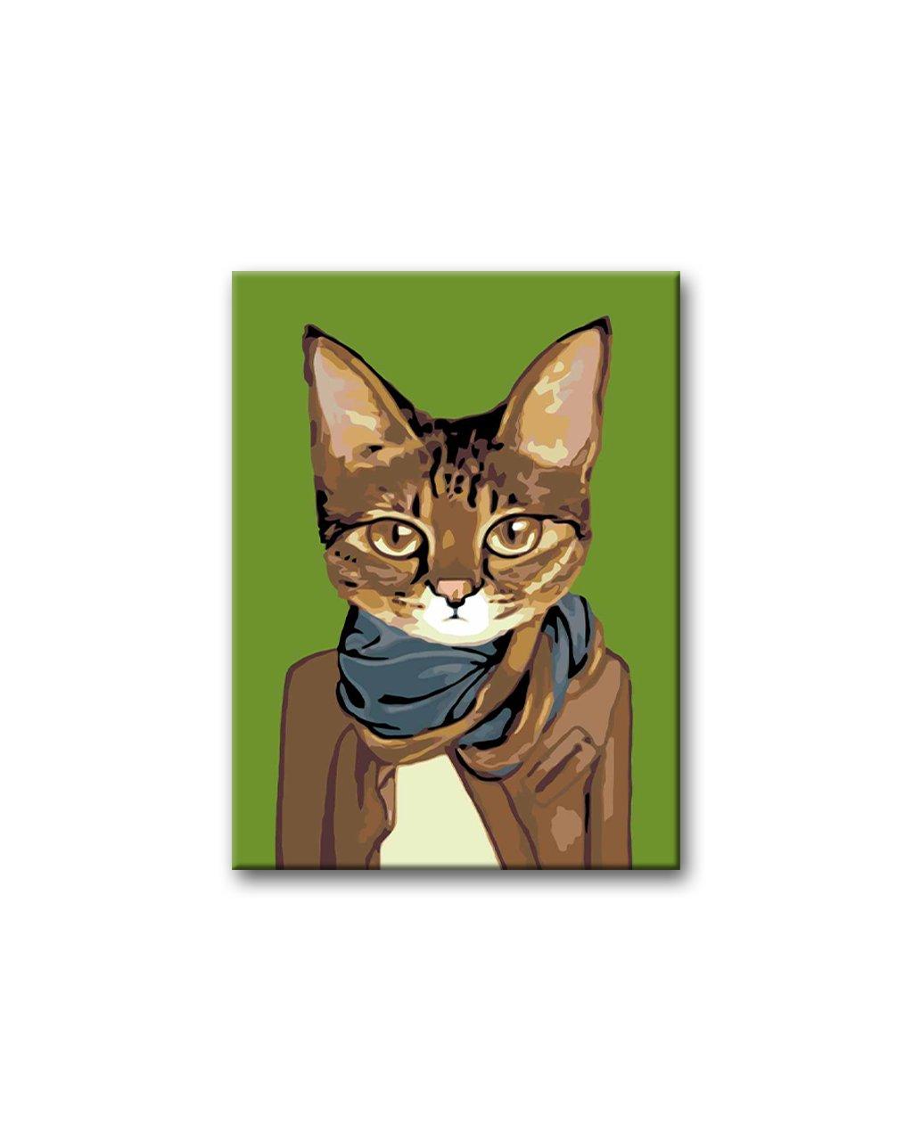Malowanie po numerach - Kot w brązowej marynarce