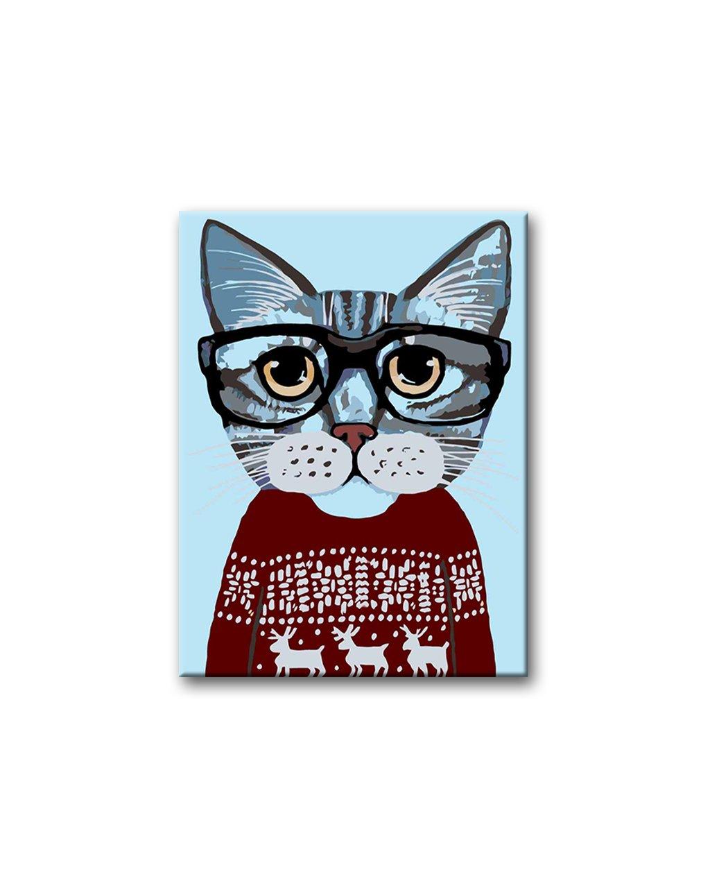 Malowanie po numerach - Kot w okularach w świątecznym swetrze, bordo