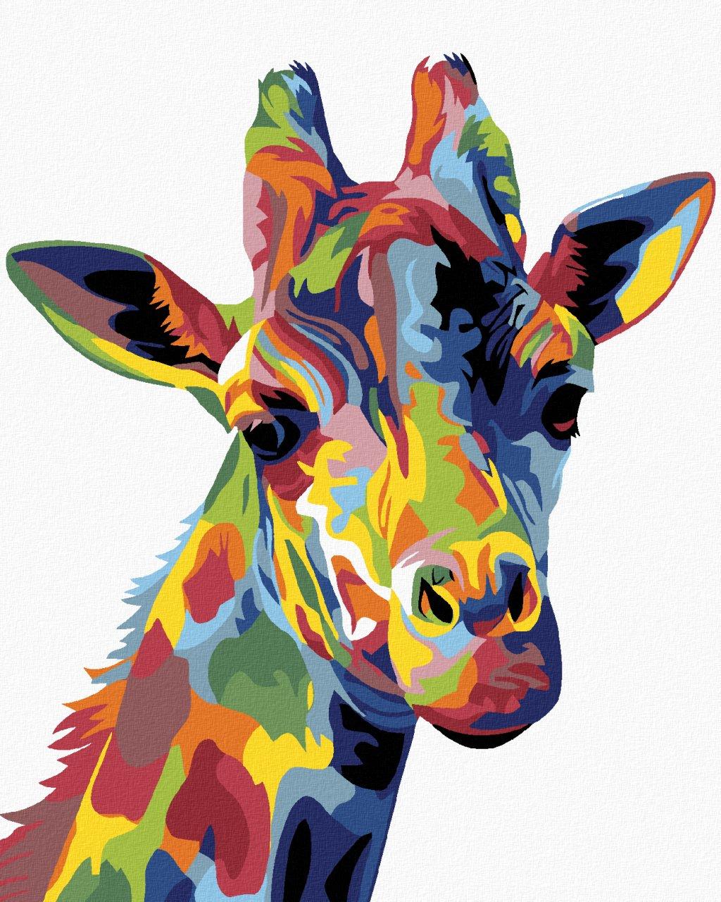 Malowanie po numerach - Kolorowa żyrafa