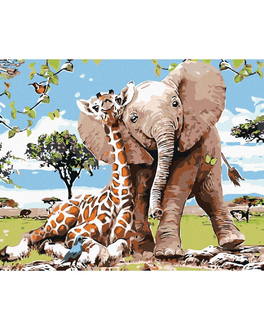 Malowanie po numerach - Żyrafa ze słoniątkiem