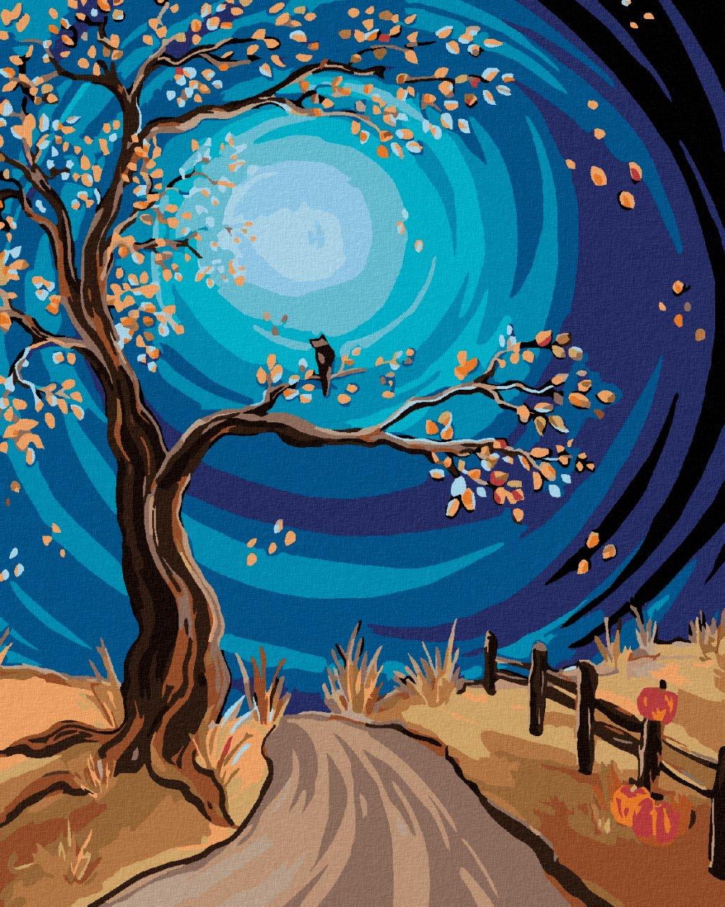 Malowanie po numerach - Drzewo i pełnia księżyca