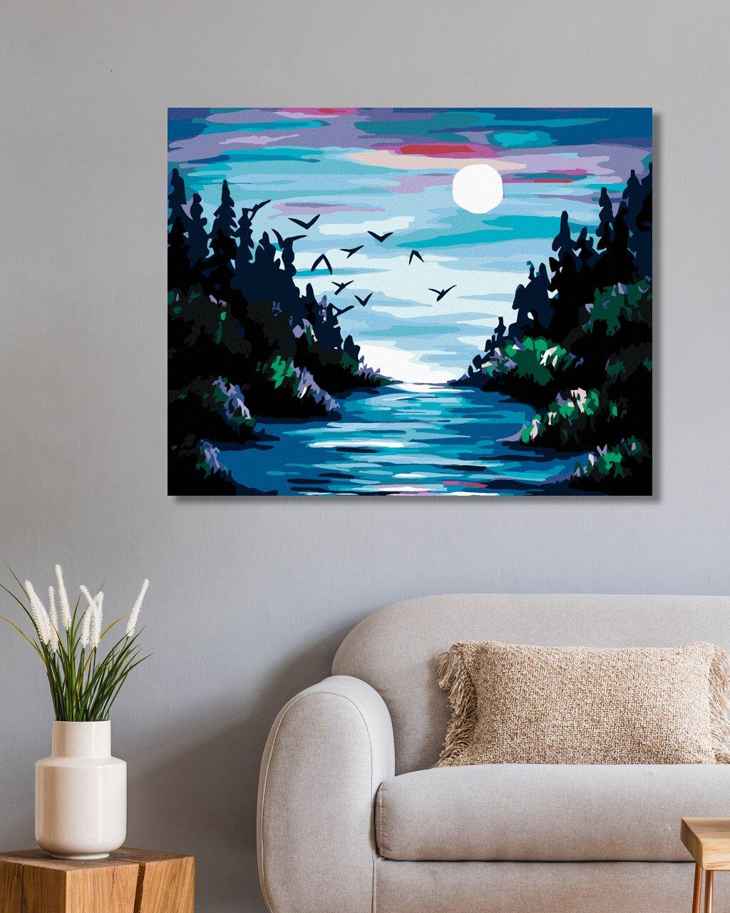 Malowanie po numerach - Księżyc nad rzeką