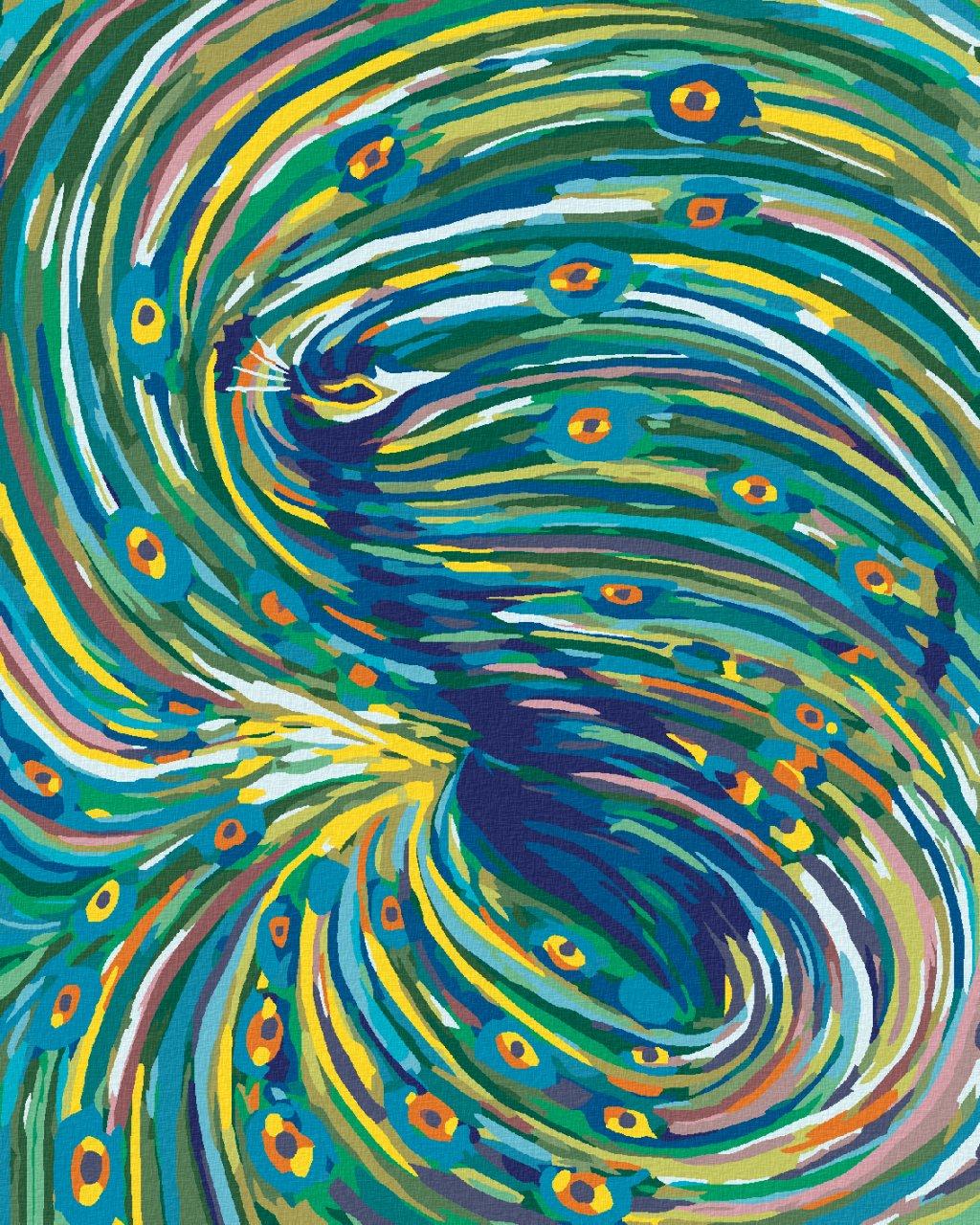 Malowanie po numerach – Zawirowany paw